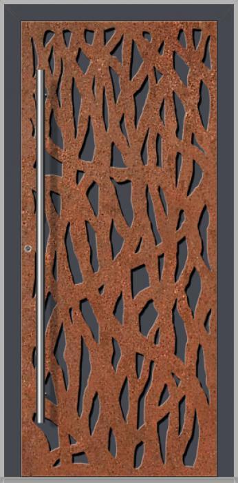 LIM Corrode  - Porte d'entrée en aluminium avec acier corten corrodé