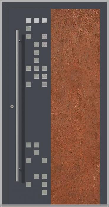 LIM DigitalC  - Porte d'entrée en aluminium avec acier corten corrodé