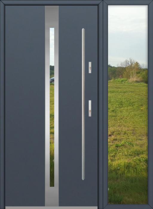 configuration personnalisée - Fargo porte d'entrée avec droit fixe latéral (vue de l'extérieur)