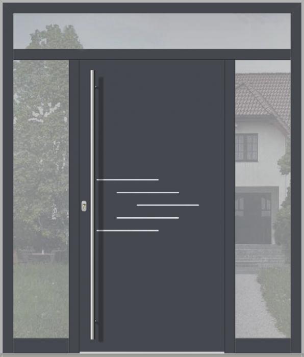 LIM porte d'entrée avec fixe latéral gauche, droite et supérieure (vue de l'extérieure)