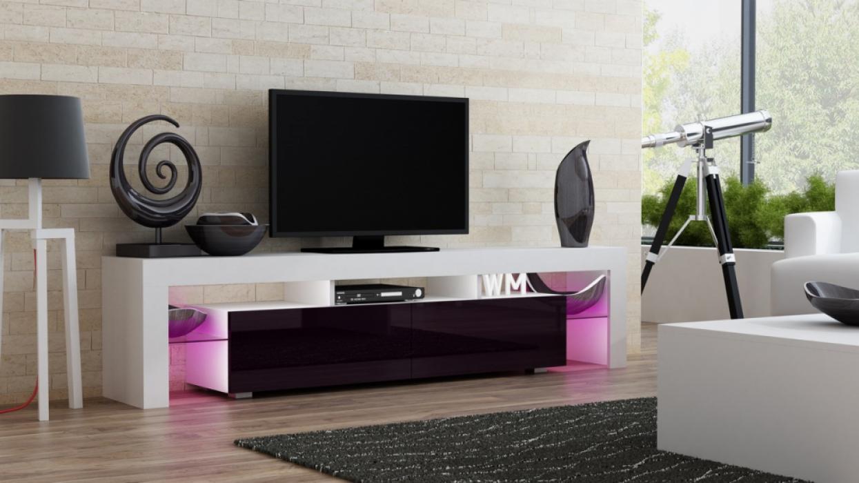 Milano 200 - blanc / rouge / violet meuble télé