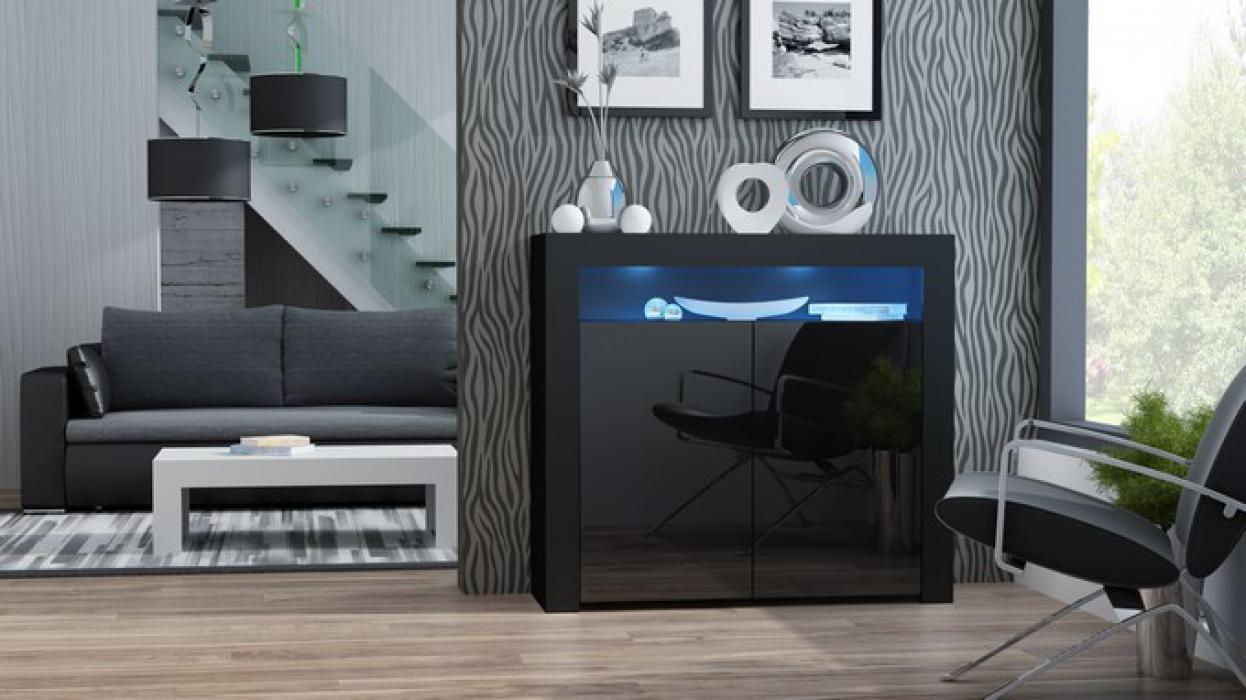 Buffet Milano 2D - noir petite commode