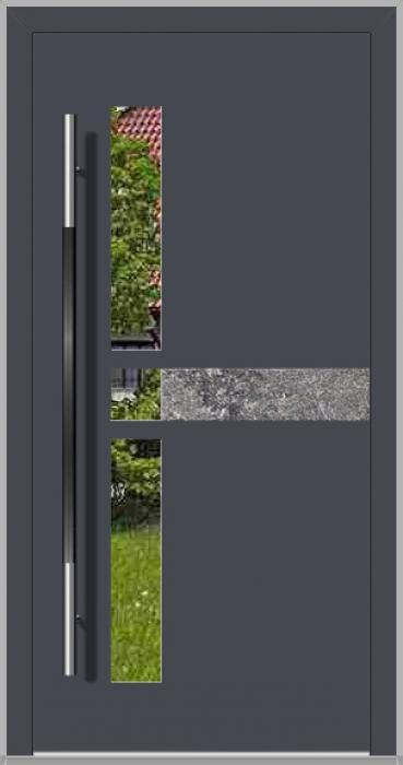 LIM Chip-BS - porte d'entrée en aluminium avec pierre naturelle