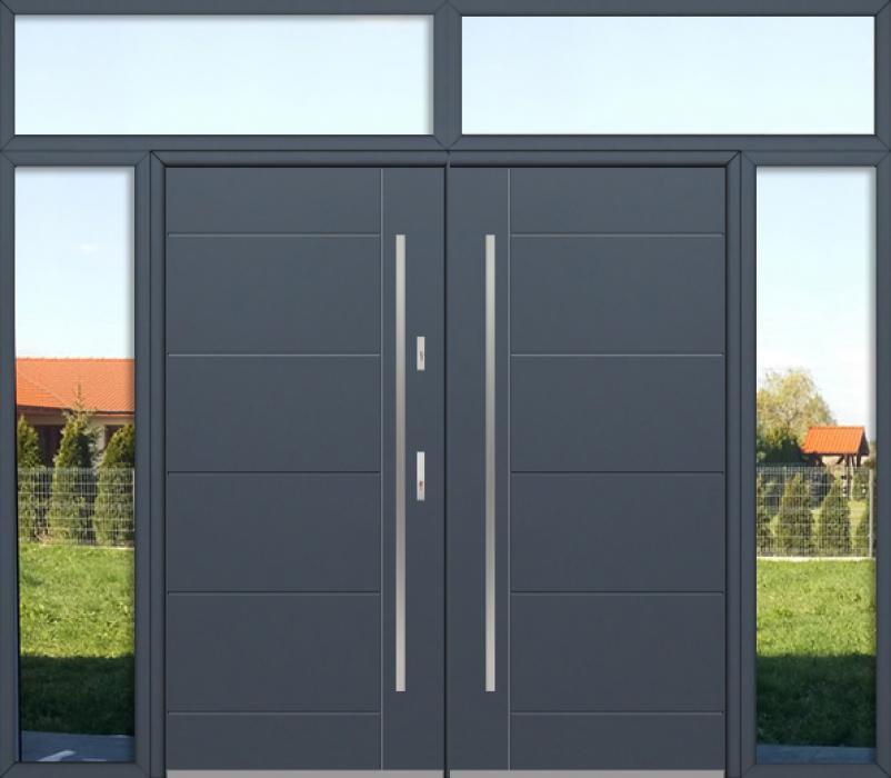 configuration personnalisée - Porte double Fargo avec fenêtres latérales gauches, droite et supérieures