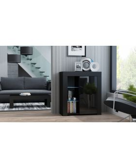 Milano Sideboard 1D - noir commode chambre adulte